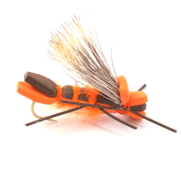 Orange Godzilla Hopper - Foam Grasshopper or Adult Salmonfly Fly Pattern - Hook Size 10