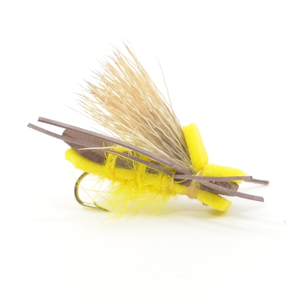 Yellow Godzilla Hopper - Foam Grasshopper or Adult Salmonfly Fly Pattern - Hook Size 10