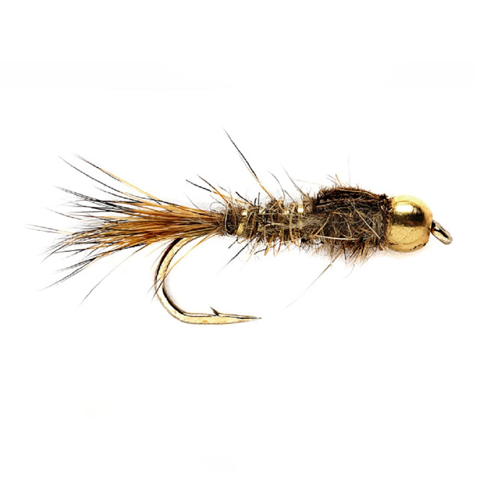 Bead Head Gold Ribbed Hare's Ear Nymph Fly Fishing Flies Hook Size 14