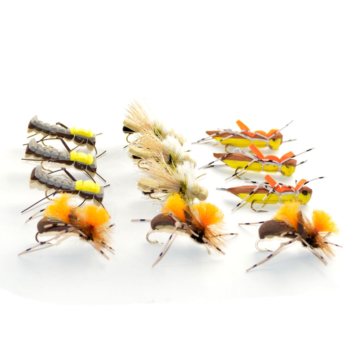 Trout Fly Assortment - Dropper Hopper Foam Body 12 Flies 4 Patterns Trout Fishing Fly Collection