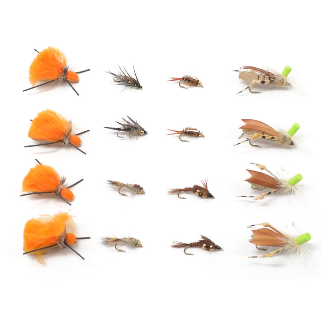 Trout Fly Assortment - Dry Fly Nymph Dropper Indie Tandem Fly Fishing Rig Collection - 16 Flies - Indicator Dry Flies and Dropper Nymphs