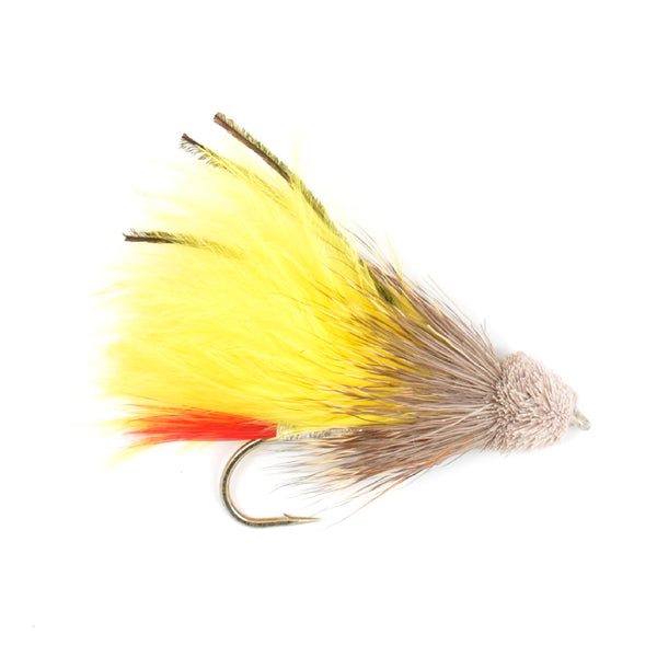 Yellow Marabou Muddler Minnow Trout and Bass Streamer Fly - Hook Size 4