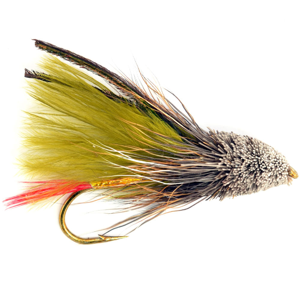 Olive Marabou Muddler Minnow Trout and Bass Streamer Fly - Hook Size 4