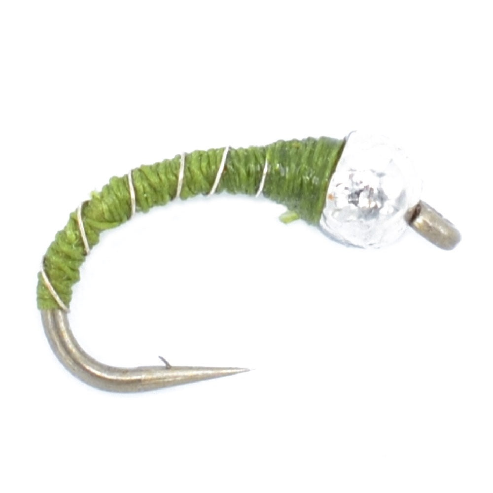 Bead Head Olive Zebra Midge Still Water Nymph Fly Fishing Fly Hook Size 18