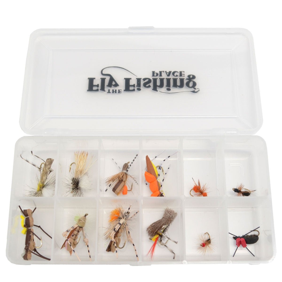 Trout Fly Assortment - Essential Terrestrials Fly Fishing Flies Collection - Includes Foam Hoppers, Ants, Beetles, and Cicadas - 1 Dozen Trout Flies with Fly Box