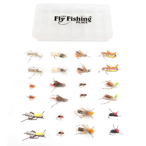 Trout Fly Assortment - Essential Terrestrials Fly Fishing Flies Collection - Includes Foam Hoppers, Ants, Beetles, and Cicadas - 2 Dozen Trout Flies with Fly Box