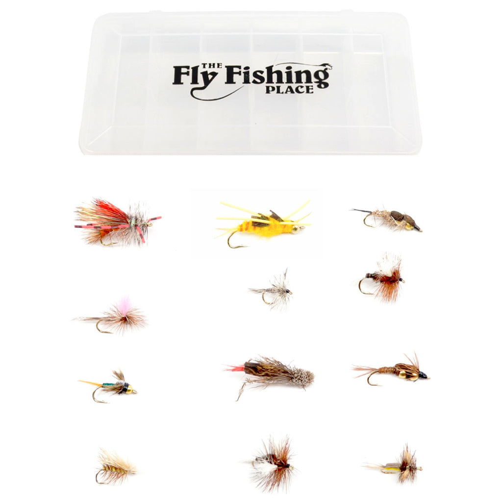 Trout Fly Assortment - Essential Western Dry and Nymph Fly Fishing Flies Collection - 1 Dozen Trout Flies with Fly Box