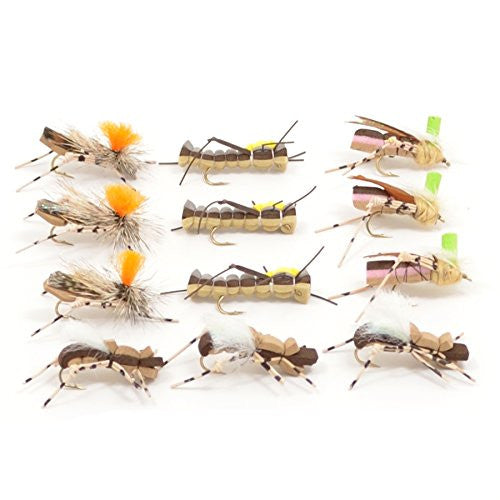 Trout Fly Assortment - Foam Body High Visibility Grasshopper Dry Fly Collection - 1 Dozen Flies - Hook Size 10