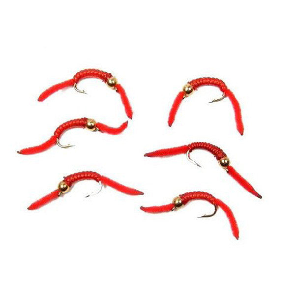 San Juan Worm Power Bead 1/2 Dozen Gold Bead Red V-Rib - Set of 6 Nymph Wet Flies