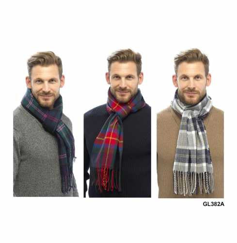 GL382 Men's Modern Tartan Check Pattern College Scarves by Tom Franks - 97382
