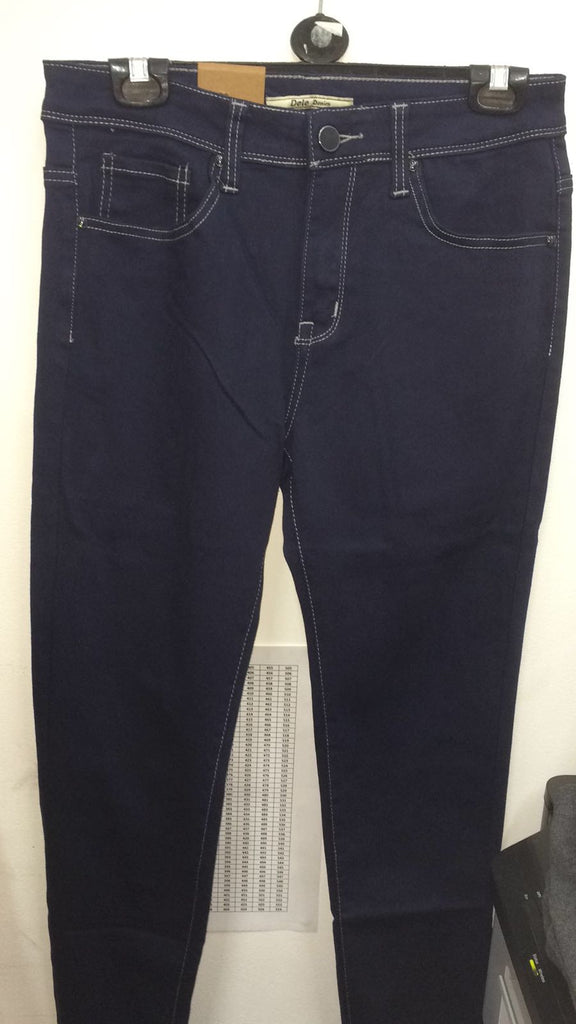 075 Ladies navy  Jeans with white stitching