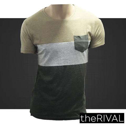 657- Mens Beige Grey Khaki Tshirts With Pocket