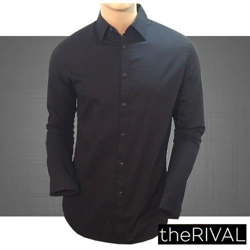 Mens Long Sleeve Shirts stripped Black