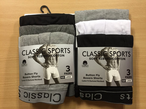 Mens Ripped Classic Sports 3pk Boxers