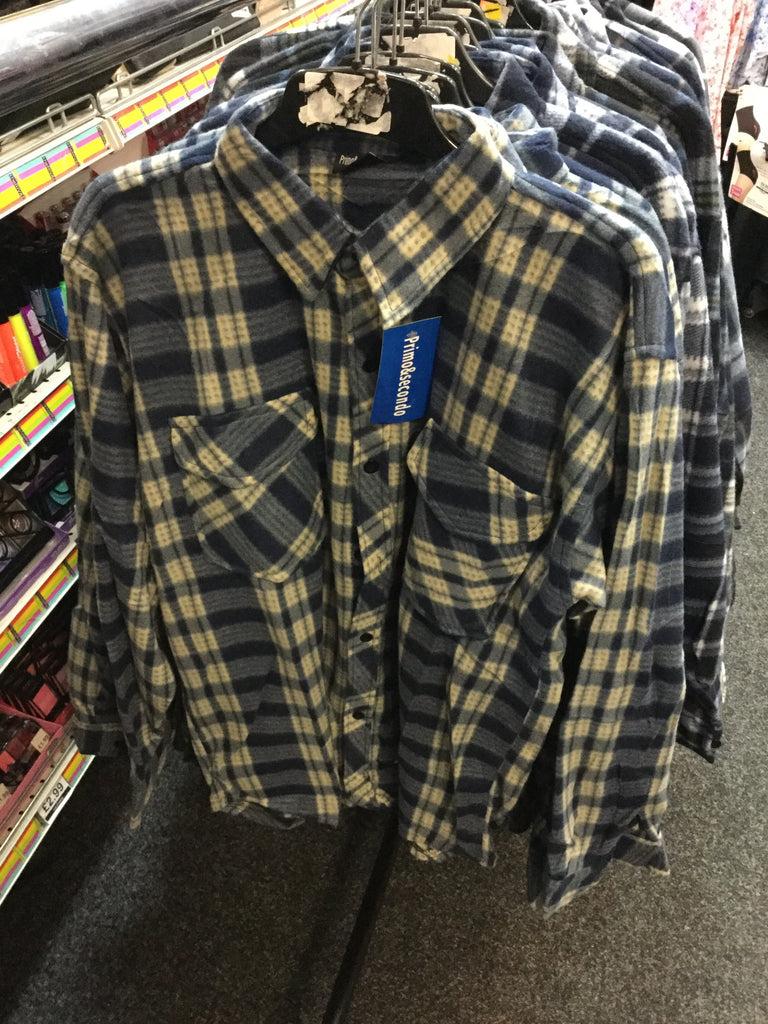 616-Men's warm checked shirt with button