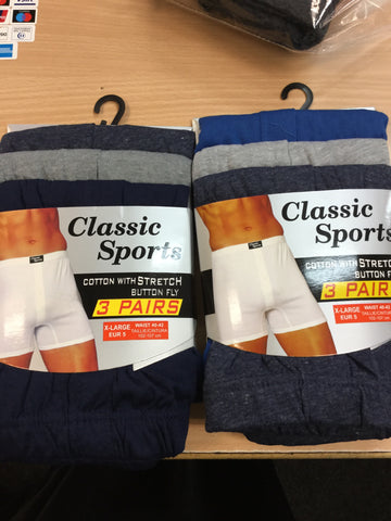 811- Mens  Classic Sports cotton with stretch 3pk Boxers
