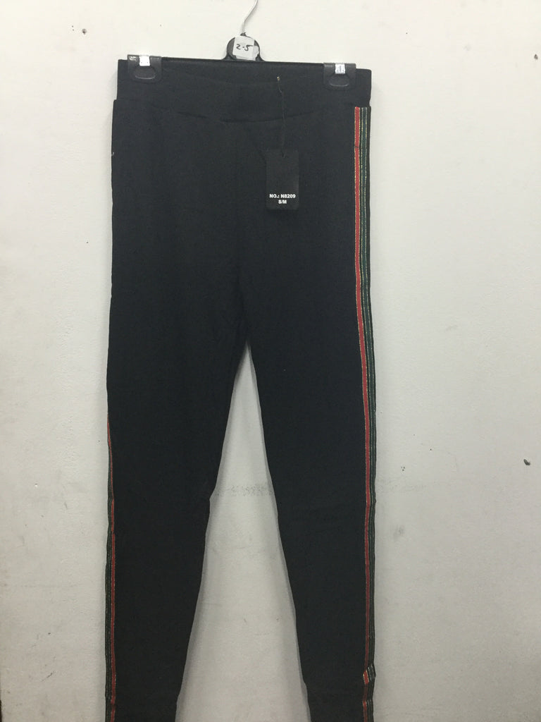 417 black skinny joggers with coloured strips on the side