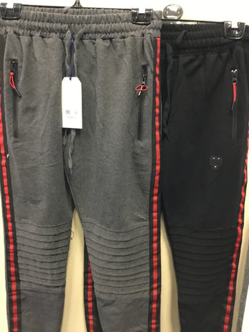 759- Men's jogging bottoms black or grey red stripe