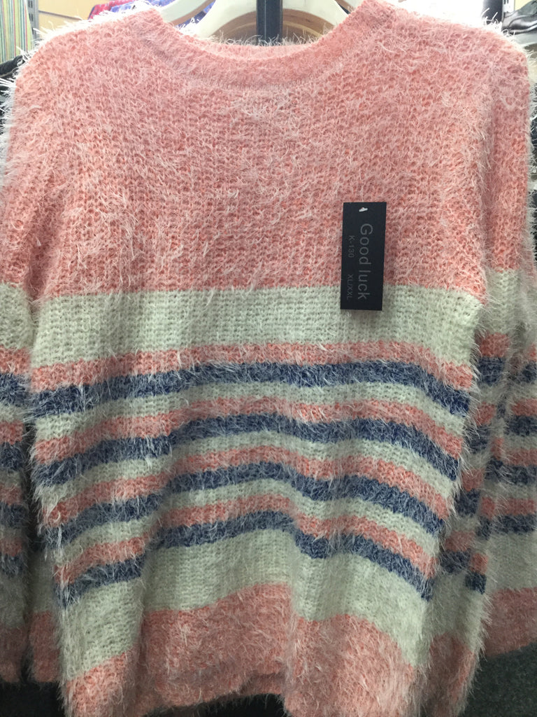 476- Ladies stripy fluffy jumper k130