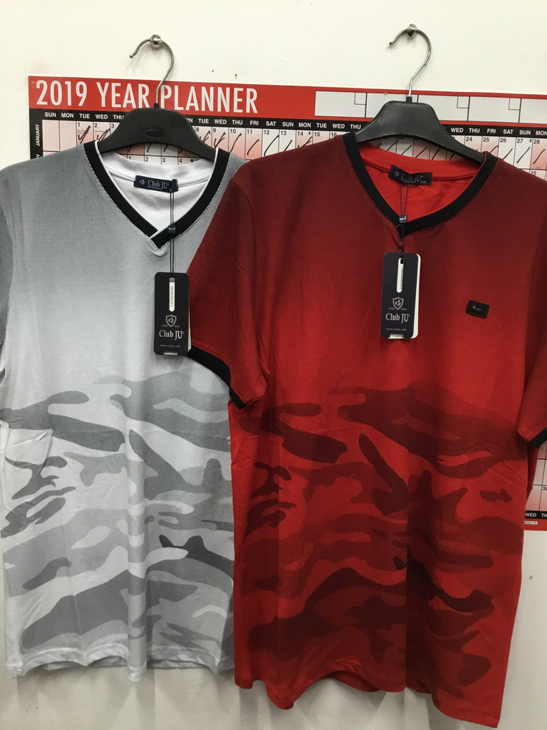 755- Men's camo red/ white t shirt