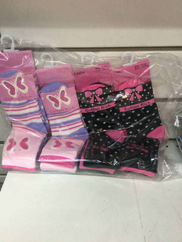 387- girls cotton rich butterfly/ bow design socks