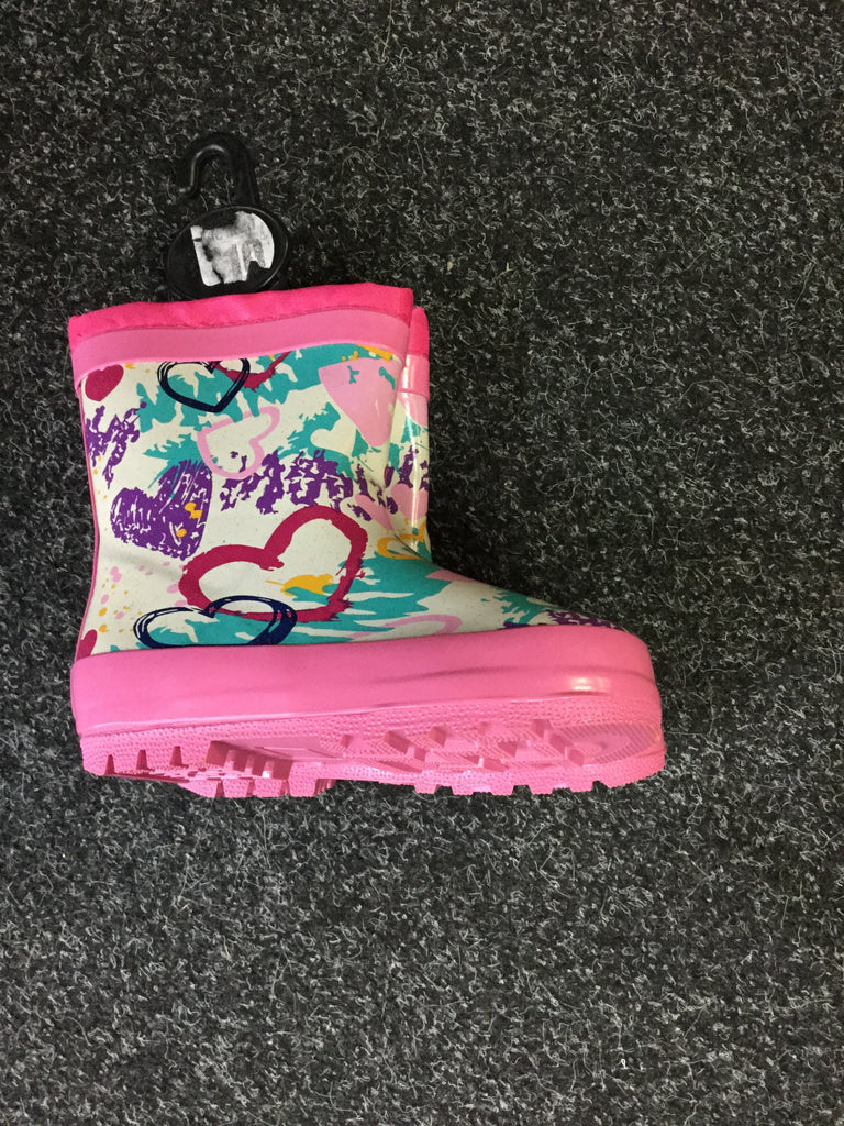 769- Girls heart rubber wellies , Wellington boots