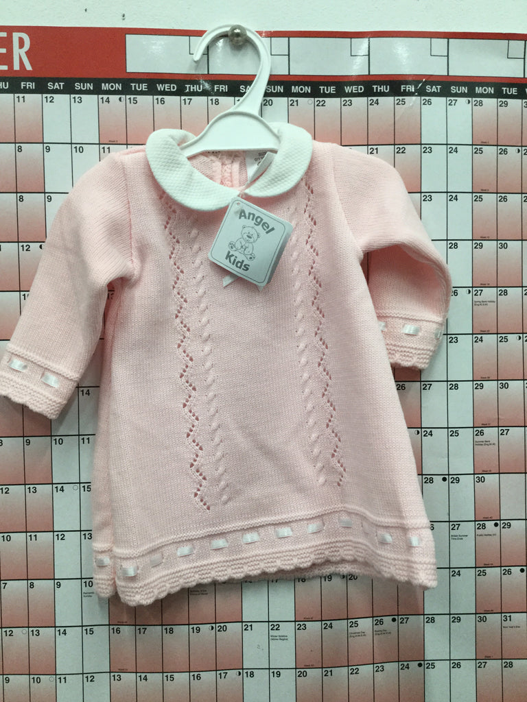 234- Baby girls pink knitted dress