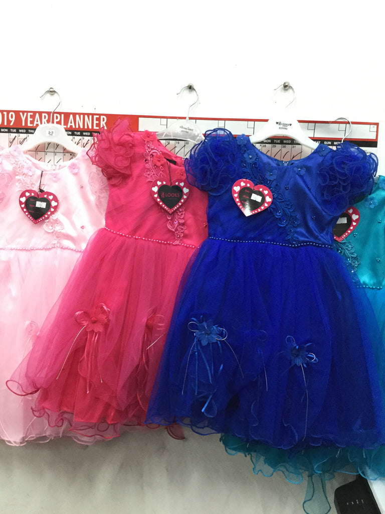 793- girls partywear dresses with puff sleeves