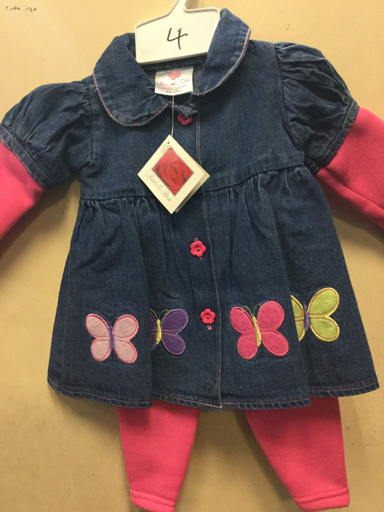 466- Baby's denim dress and pink trousers