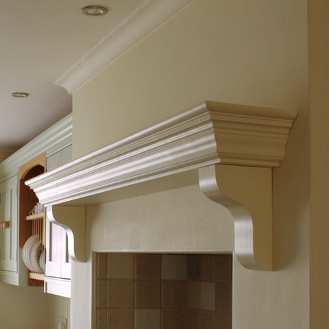 Handmade Victorian Solid Wood Mantel Piece, Floating Shelf with Corbels
