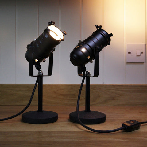 Retro Theatre Mini Table / Bedside Lamps - Black