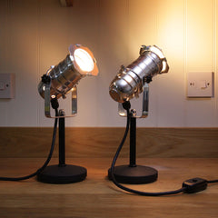 Retro Theatre Mini Table / Bedside Spotlight Lamps - Polished