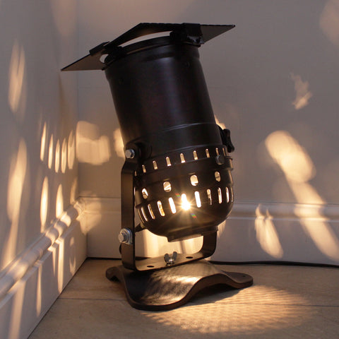 Retro Theatre Lamp on Base - Long Spotlight Model - Black