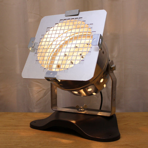 Table Lamp - Theatre Spot Light On Plastic Base - Short Polished