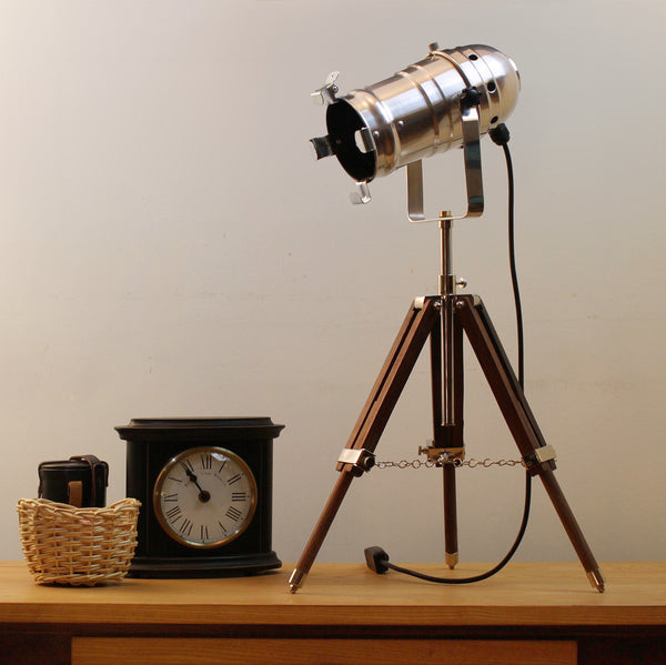 Table Lamp Medium Size Theatre Spotlight On Small Tripod Lux Foundry