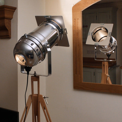 Floor Lamp - Theatre Spot Light On Wooden Tripod - Long Polished
