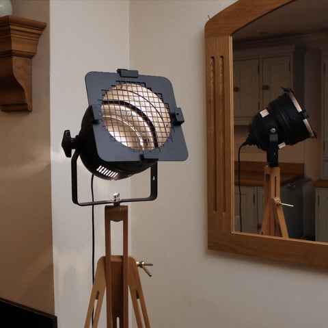 Floor Lamp - Theatre Spot Light On Wooden Tripod - Short Black