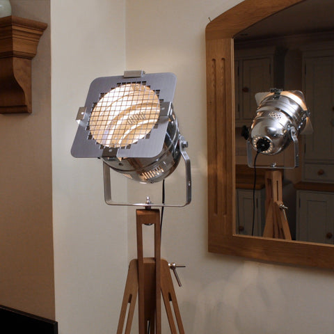 Floor Lamp - Theatre Spot Light On Wooden Tripod - Short Polished