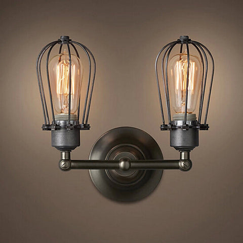 RH Type Double Wire Cages Wall Lamp Edison Light Bulb Fixture Cage