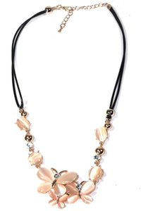 Pink/Peach Elegant Butterfly Trio Necklace