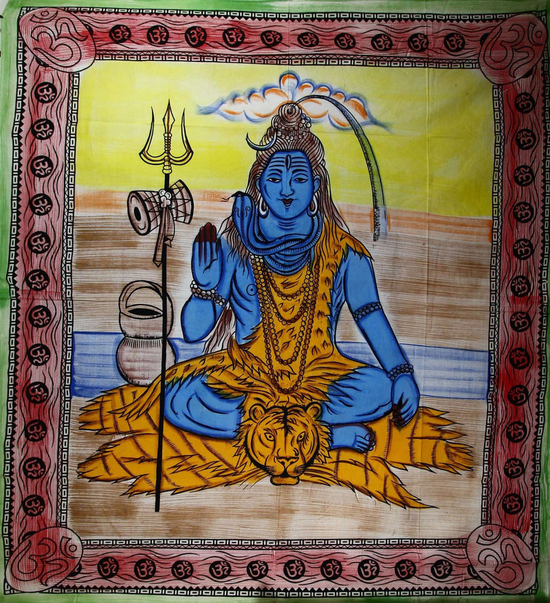 Third Eye Shiva with Trishul & Om Tapestry
