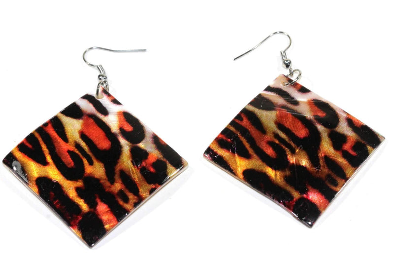 Leopard Print Mother Of Pearl Earrings