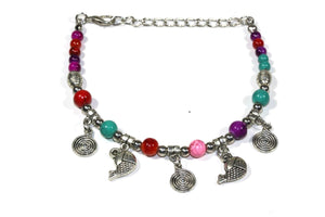 Multi Color Spirals & Fish Charm Bracelet