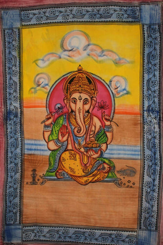 Ganesha Holding Lotus Flower In Pastels Tapestry