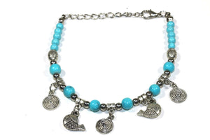 Turquoise Spirals & Fish Charm Bracelet