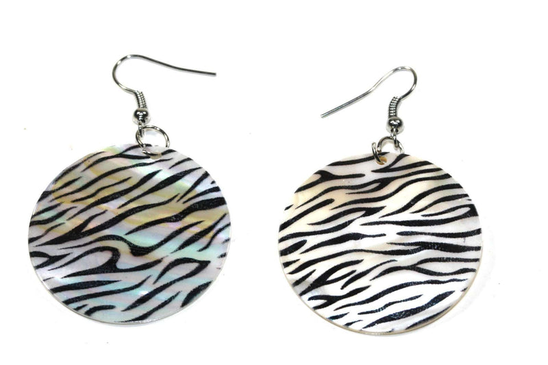 Zebra Stripes Mother of Pearl Earrings