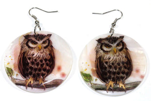 White Perched Wise Owl Mother of Pearl Earrings