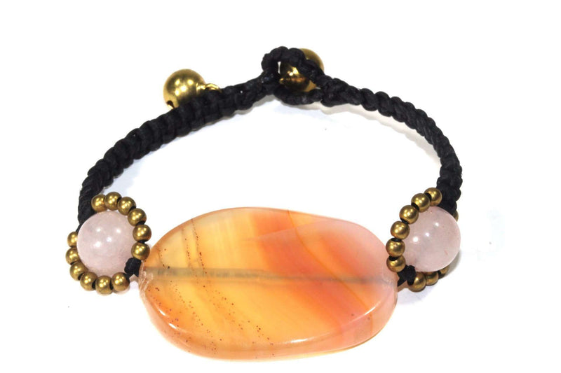 Peach Agate Slice & Rose Quartz Bracelet