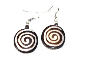 Spiral Spiritual Symbols Tribal Bone & Horn Earrings