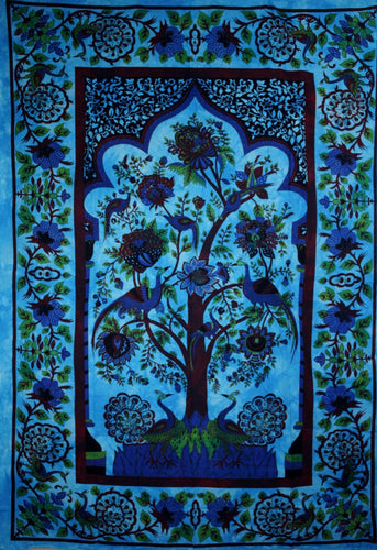 Turquoise Tree of Life Peacock Tapestry | Wild Lotus